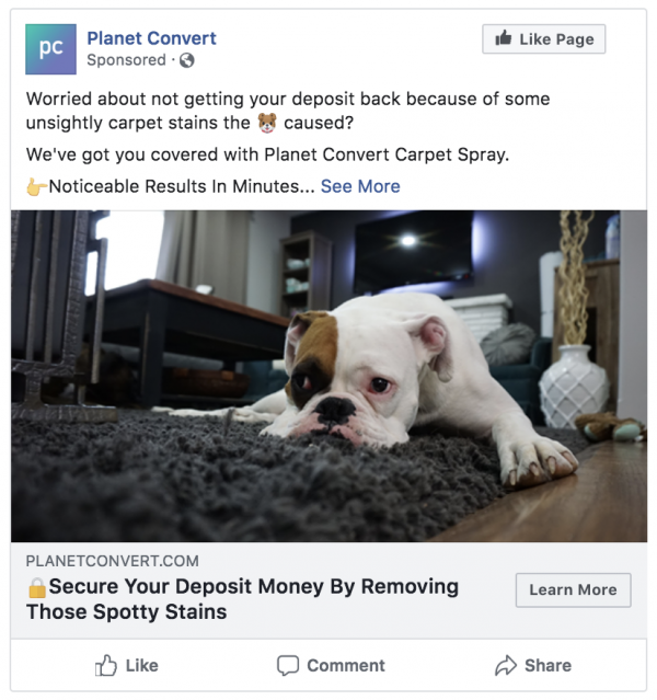 carpet cleaning facebook ad